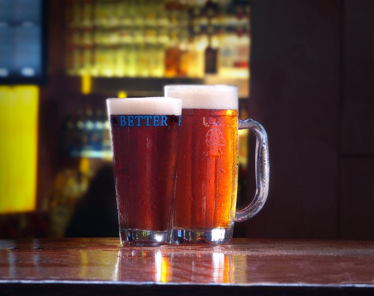 Two of the RAM's signature brews, Big Red IPA and Buttface Amber Ale.